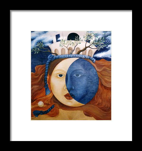 Faces Framed Print featuring the painting Moon Face by Amrei Al-Tobaishi-Jarosch