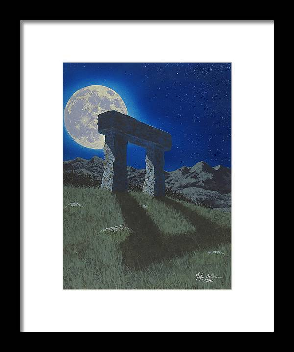 Moon Framed Print featuring the painting Moon Gate by Martin Bellmann