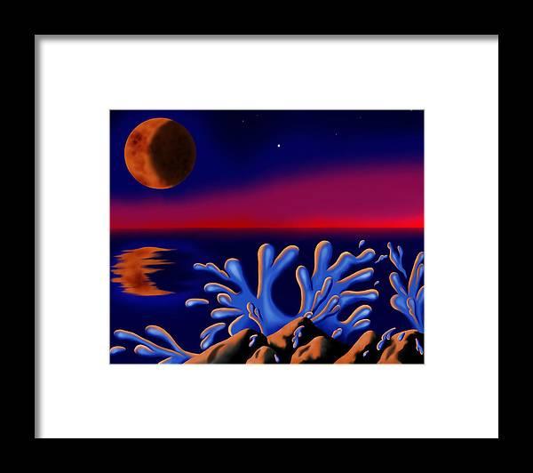 Surrealism Framed Print featuring the digital art Moon-glow II by Robert Morin