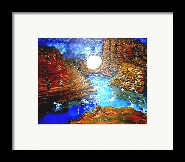 Moon Framed Print featuring the print Moon In The Grand Canyon by Tanna Lee M Wells