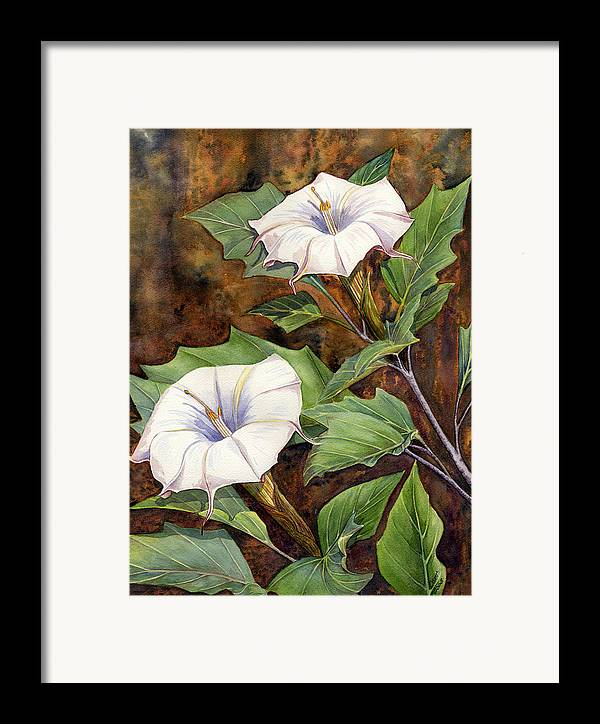 Sacred Datura Framed Print featuring the painting Moon Lilies by Catherine G McElroy