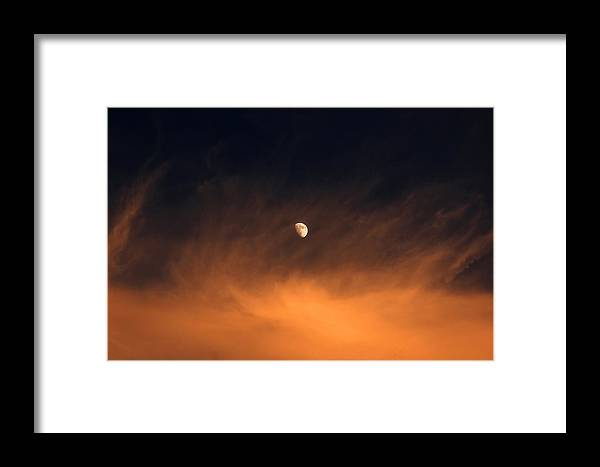 Moon Framed Print featuring the photograph Moon On Fire by Mandy Wiltse