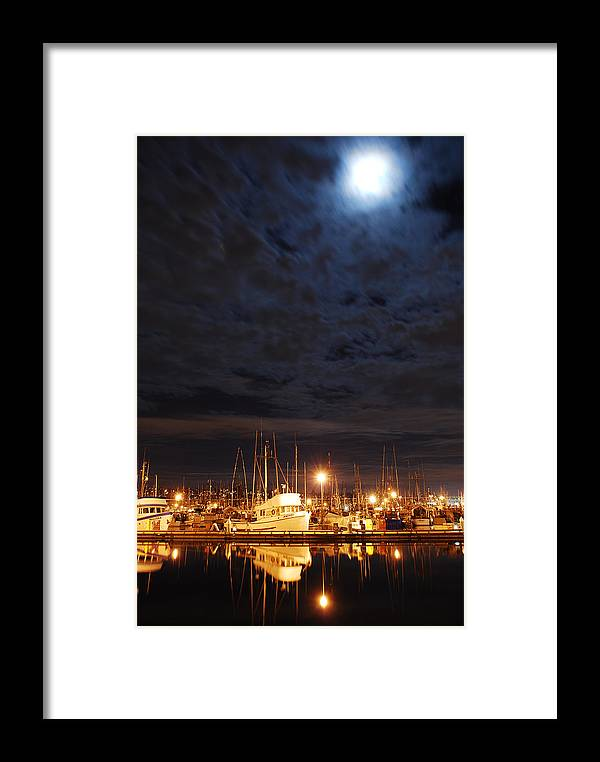 Fishing Framed Print featuring the photograph Moon Over Fishermans Terminal by Alasdair Turner