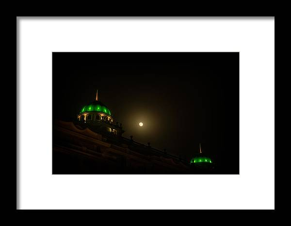 Bo Nielsen Framed Print featuring the photograph Moon Over Green by Bo Nielsen