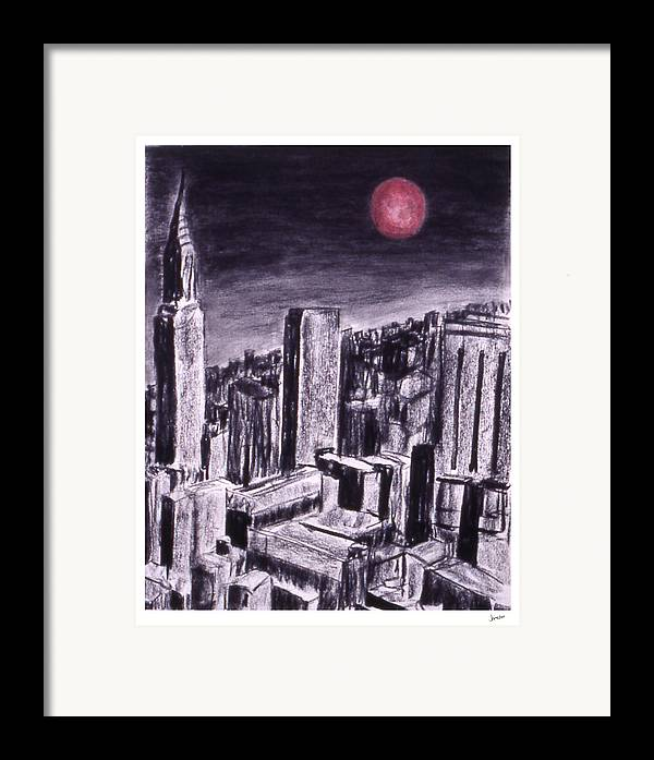 Night Sky Framed Print featuring the drawing Moon Over Manhattan by Gary Jameson