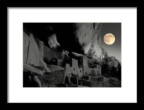 Framed Print featuring the photograph Moon Over Mesa Verde.. by Al Swasey