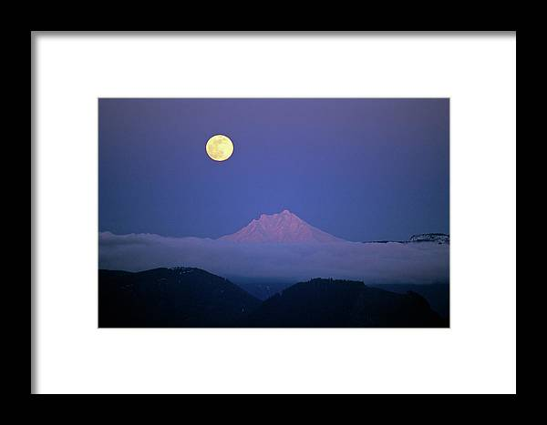 Moon Framed Print featuring the photograph Moon Over Mt. Jefferson by Ken Barber