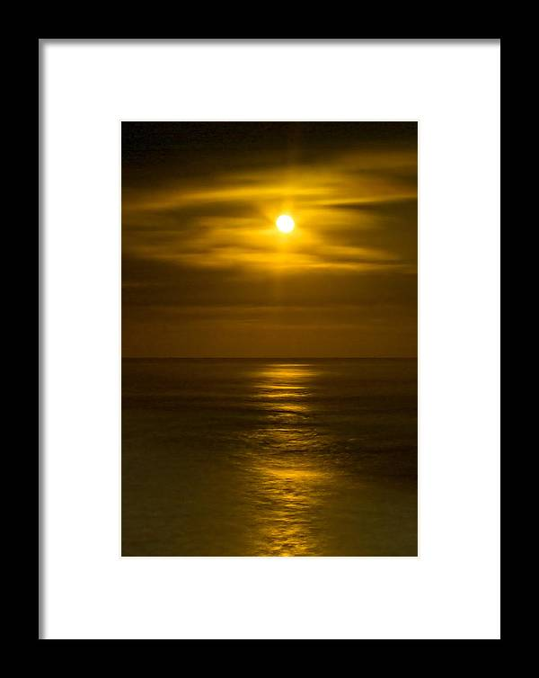 Moon Framed Print featuring the photograph Moon Over Pacific by Dale Stillman
