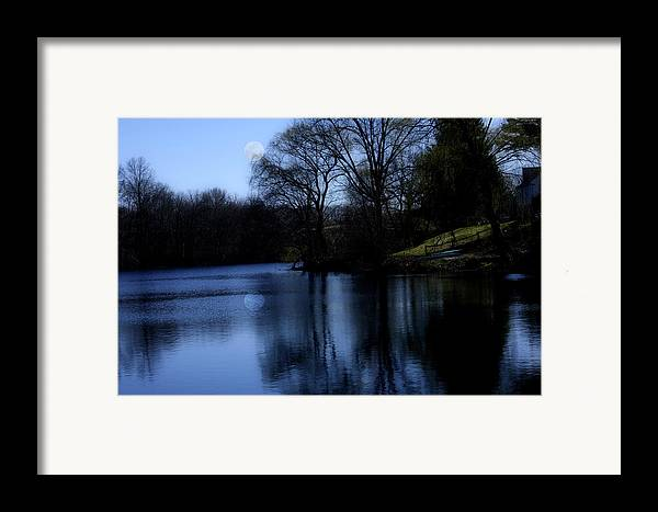 Moon Framed Print featuring the digital art Moon Over The Charles by Edward Cardini