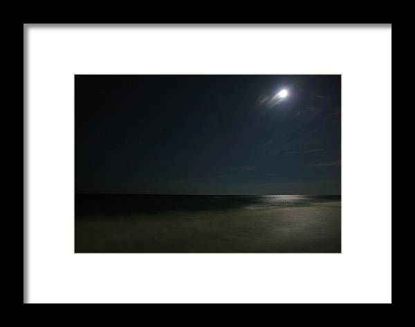 Night Framed Print featuring the photograph Moon Over The Gulf by James Jones