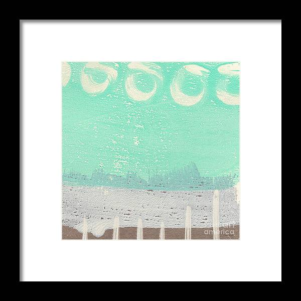 Abstract Framed Print featuring the painting Moon Over The Sea by Linda Woods