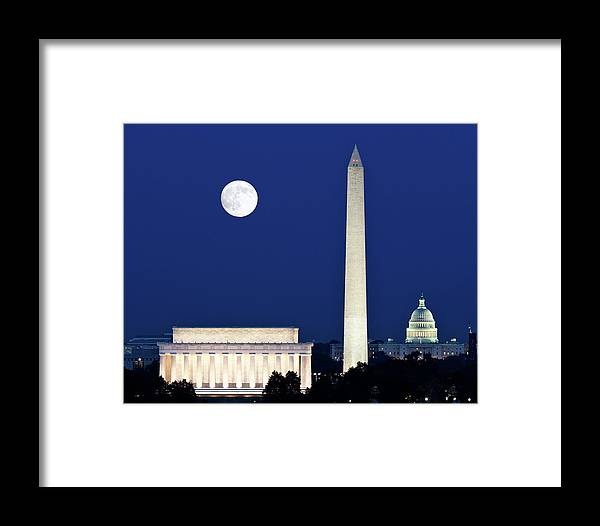 American Framed Print featuring the photograph Moon Rising In Washington Dc by Steven Heap