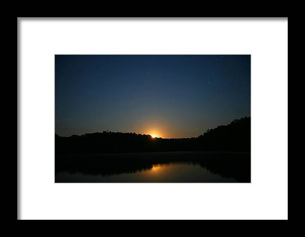 Scenery Framed Print featuring the photograph Moon Rising Over The Lake by James Jones