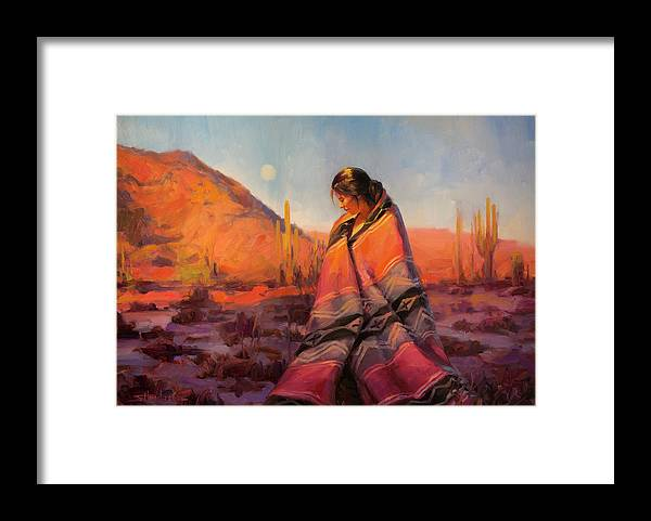 Southwest Framed Print featuring the painting Moon Rising by Steve Henderson
