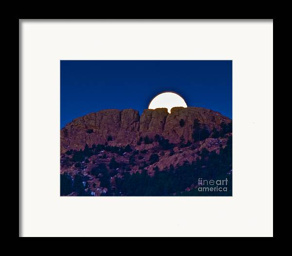 Moon Framed Print featuring the photograph Moon Setting Behind Horsetooth Rock by Harry Strharsky