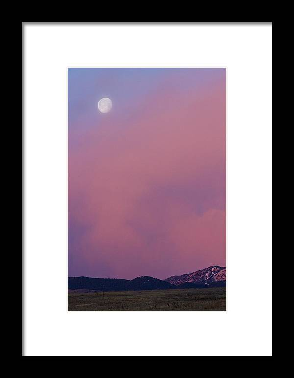 Moon Framed Print featuring the photograph Moon Setting First Light Sunrise Boulder County Colorado by James BO Insogna