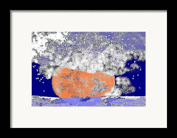 Framed Print featuring the digital art Moon Sinks Into Ocean by Beebe Barksdale-Bruner