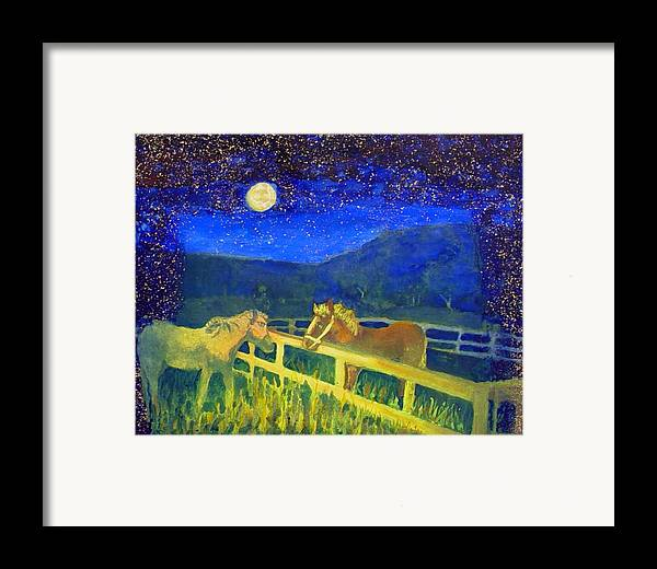 Horses Framed Print featuring the painting Moon Struck by Helen Musser