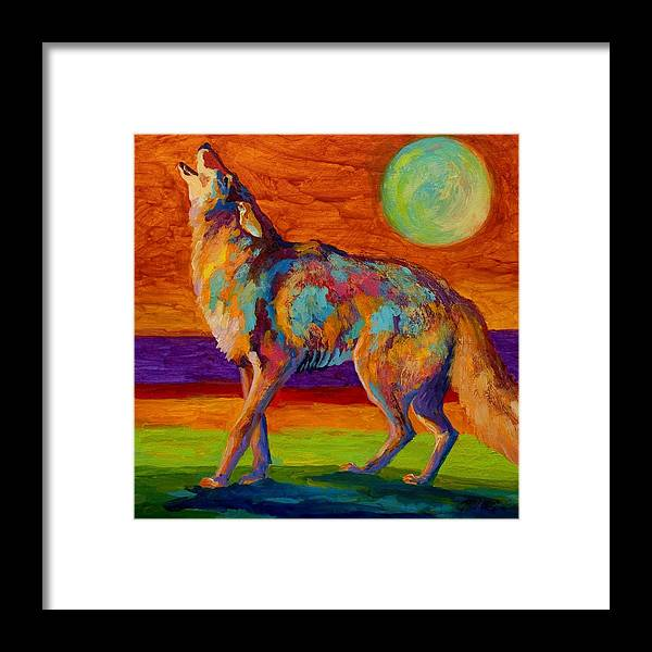 Coyote Framed Print featuring the painting Moon Talk - Coyote by Marion Rose