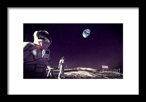 Moon Walk Framed Print featuring the digital art Moon Walk by Methune Hively