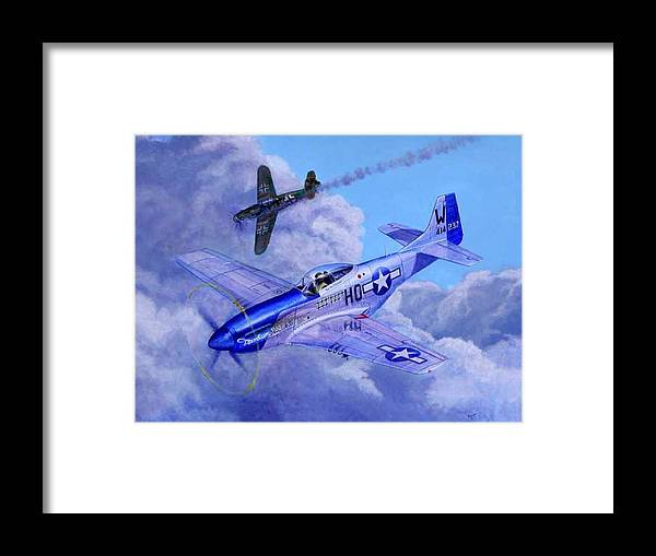 Capt Bill Wisner Shoots Down Two Bf-109s On November 2nd 1944 Framed Print featuring the painting Moonbeam McSwine by Scott Robertson