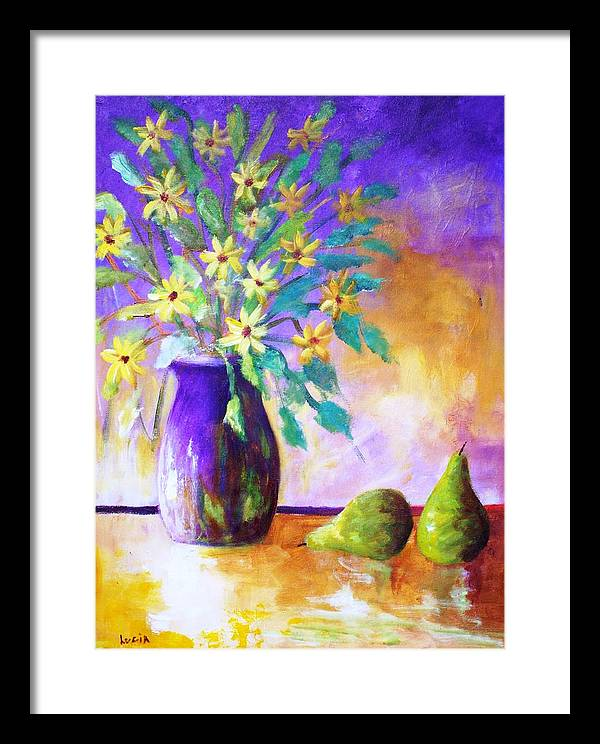 Moonbeam Flowers. Vases. Semi-absrtact. Print. Framed Print featuring the print Moonbeams by Carl Lucia