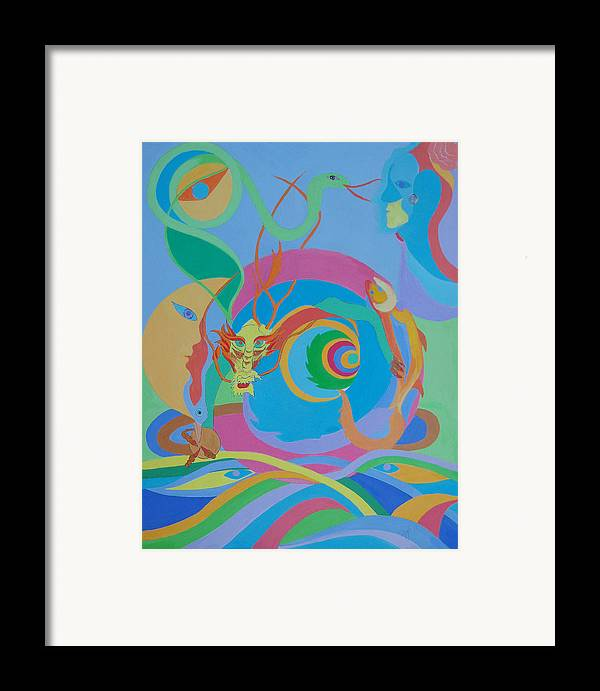 Acrylic Framed Print featuring the painting Moonbird In A Dragon Spiral by Seema Gill