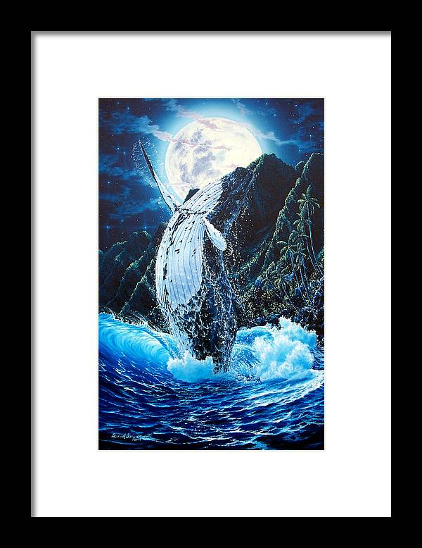 Dolphin Framed Print featuring the painting Moondance by Daniel Bergren