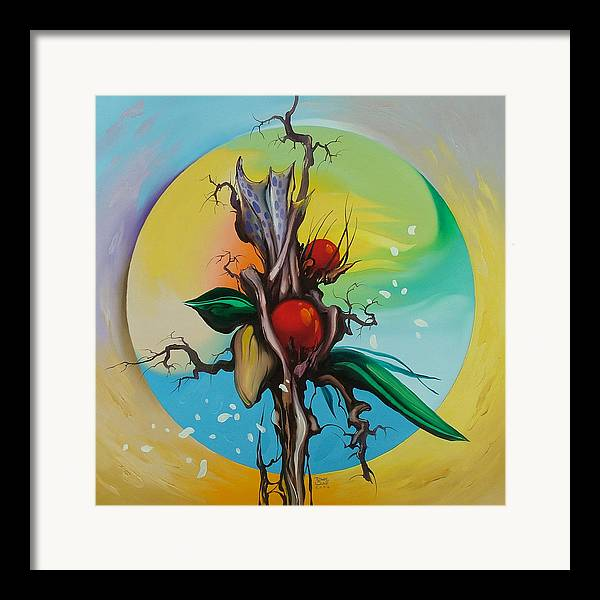 Framed Print featuring the painting Moonflower Full Moon 6. by Zoltan Ducsai