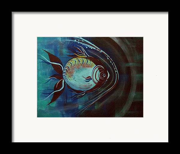 30 Inch Abstract Acrylic Aquatic Framed Print featuring the painting Moonie by Linda Powell