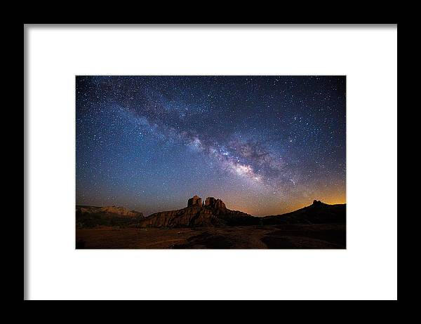 Milky Way Framed Print featuring the photograph Moonlight and Milky Way by Larry Pollock