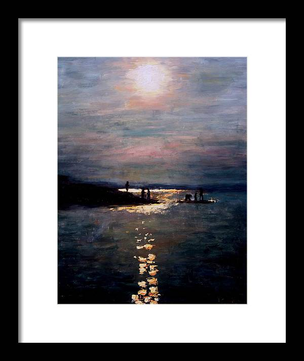 Sunset Framed Print featuring the painting Moonlight by Ashlee Comerford