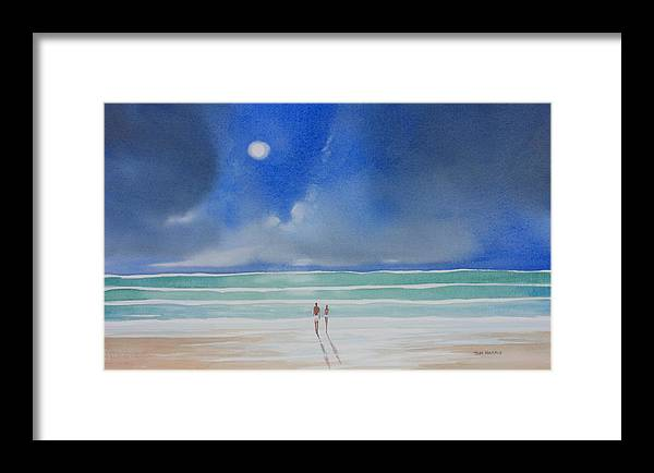 Moonlight Framed Print featuring the painting Moonlight At The Beach II by Tom Harris
