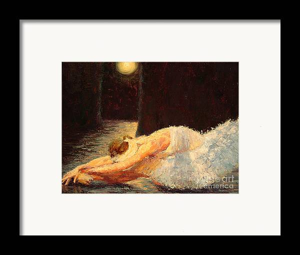 Ballerina (framed) Framed Print featuring the painting Moonlight Ballet by Colleen Murphy