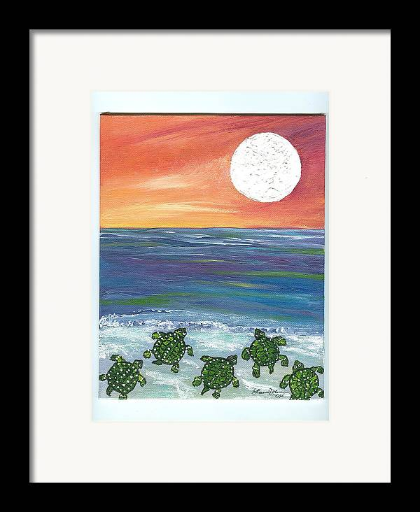 Turtles Framed Print featuring the painting Moonlight Birthday Swim. by Laura Johnson