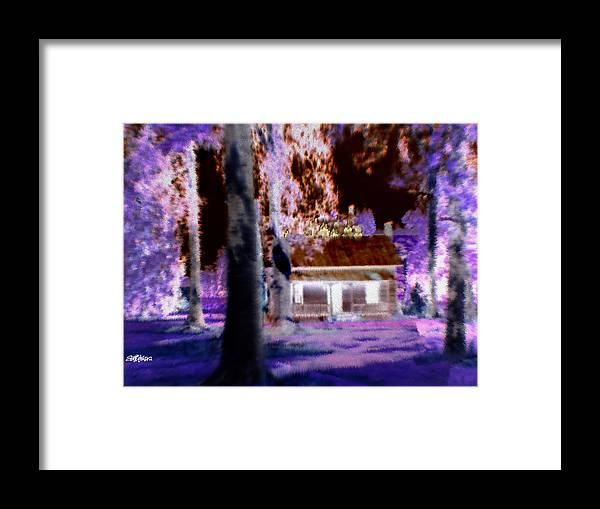 Cabin Framed Print featuring the digital art Moonlight Cabin by Seth Weaver