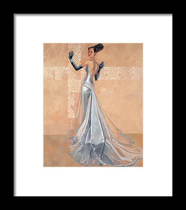 Fashion Illustration Framed Print featuring the painting Moonlight Daiquiri by Barbara Tyler Ahlfield