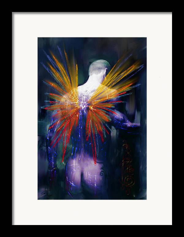 Angel Framed Print featuring the digital art Moonlight Kisses Raphael by Stephen Lucas