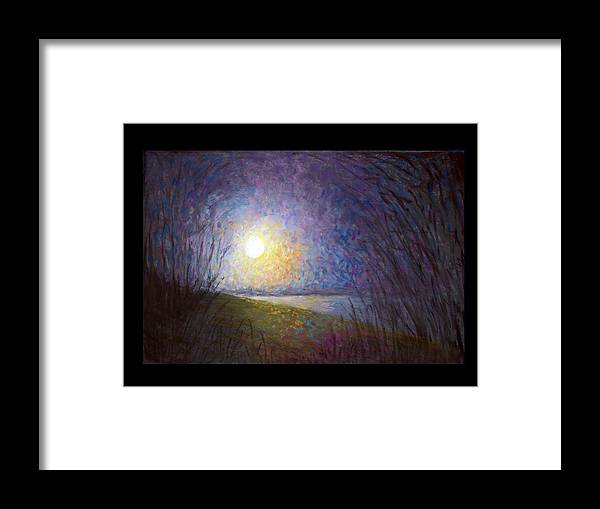 Landscape Framed Print featuring the painting Moonlight Lake by Susan Jenkins