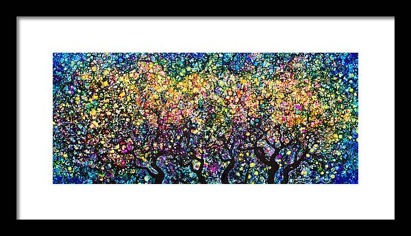Abstract Framed Print featuring the painting Moonlight Magic by Sandy Sandy