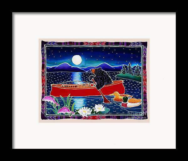 Whimsical Framed Print featuring the painting Moonlight On A Red Canoe by Harriet Peck Taylor