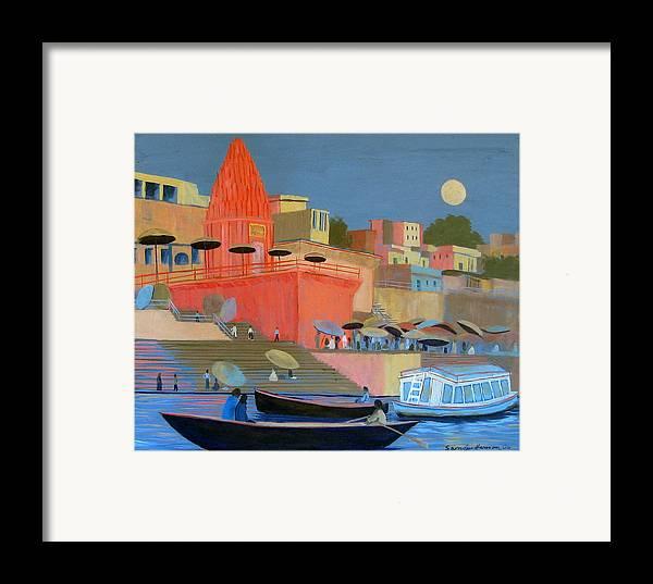 Moonlight Framed Print featuring the painting Moonlight On The Ghats by Art Nomad Sandra Hansen