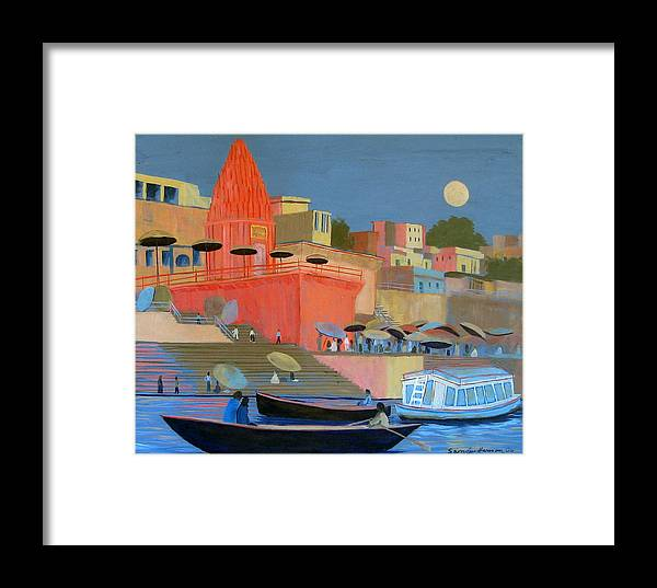 Moonlight Framed Print featuring the painting Moonlight On The Ghats by Art Nomad Sandra Hansen