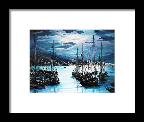 Ocean Painting  Caribbean Seascape Painting Moonlight Painting Yachts Painting Marina Moonlight Port Of Spain Trinidad And Tobago Painting Greeting Card Painting Framed Print featuring the painting Moonlight Over Port Of Spain by Karin Dawn Kelshall- Best