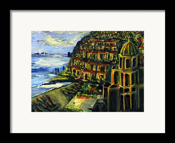 Positano Framed Print featuring the painting Moonlight Over Positano by Randy Sprout