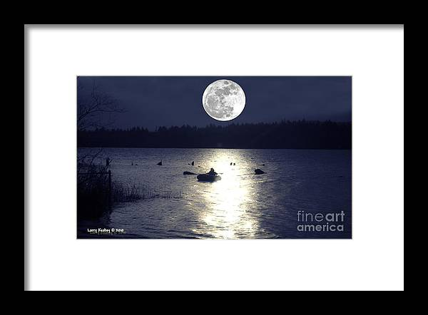 Moon Framed Print featuring the photograph Moonlight Row by Larry Keahey