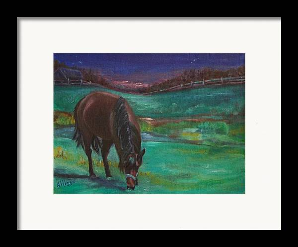 Horse Framed Print featuring the painting Moonlight Snack by Stephanie Allison
