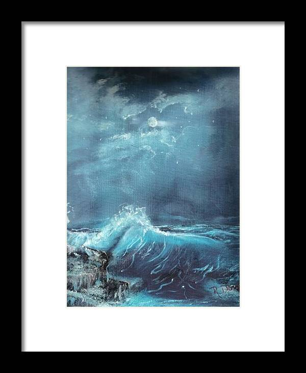 Water Sea Moon Surf Seascape Moonlight Lake Ocean Framed Print featuring the painting Moonlight Surf by Raymond Doward