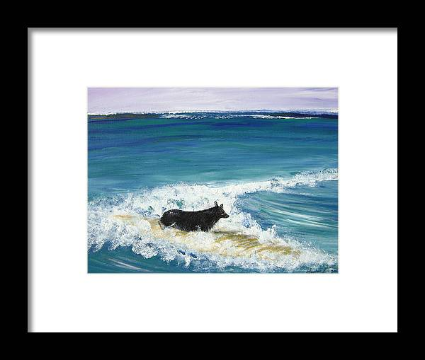 Surf Framed Print featuring the painting Moonlight Surfer Girl. by Laura Johnson