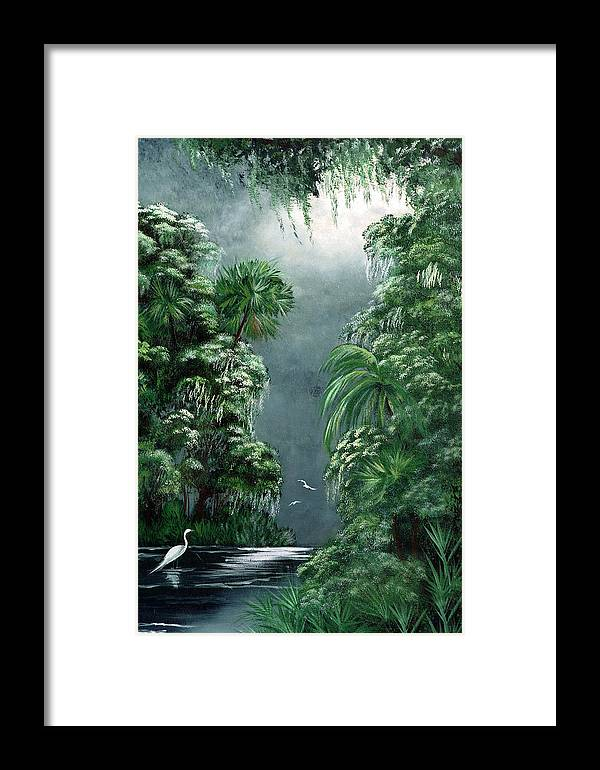 Swamp Framed Print featuring the painting Moonlight Swamp by Darlene Green